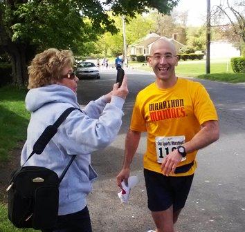 cheering my nephew running a marathon!